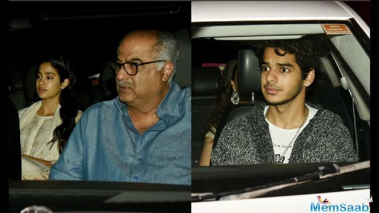 """Janhvi Kapoor, who makes her debut in Bollywood with this remake of 2016 Marathi film """"Sairat"""" had her father Boney Kapoor and sister Khushi Kapoor present on Wednesday."""