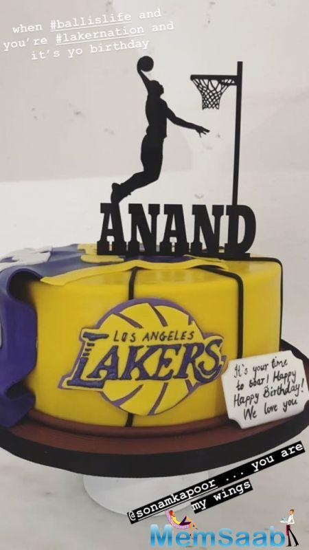 He also posted another photo of the cake, which showed a clearer vision of a guy playing basketball and Anand written on it. He captioned the picture as,