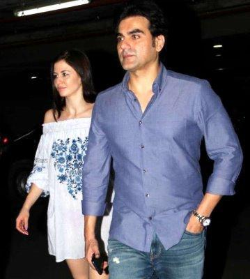 Arbaaz Khan's girlfriend Georgia Andriani accompanied him to Hyderabad for sister Arpita Khan Sharma's birthday bash on Friday.
