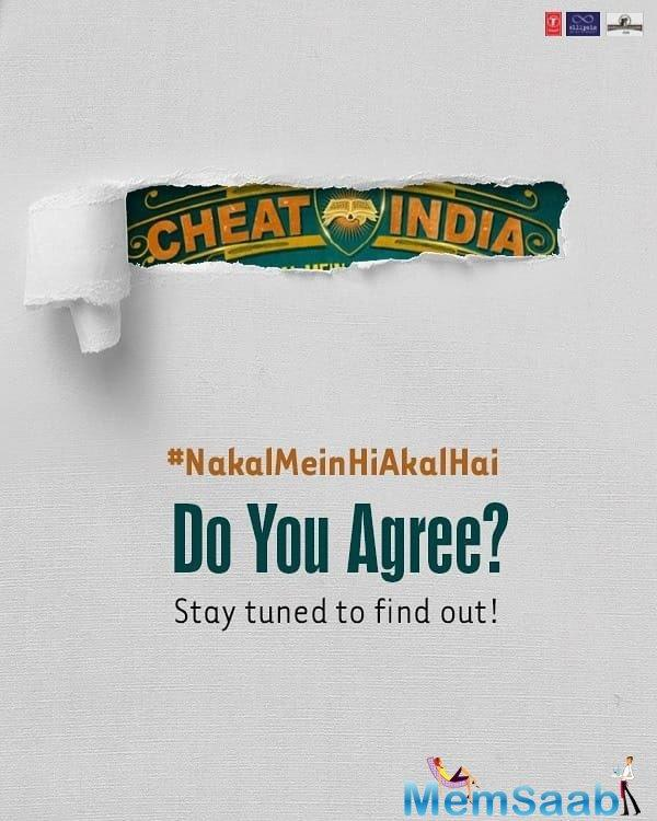 Emraan Hashmi on Monday unveiled a teaser poster of his first production Cheat India. The 39-year-old took to his Twitter to give a glimpse of the film.