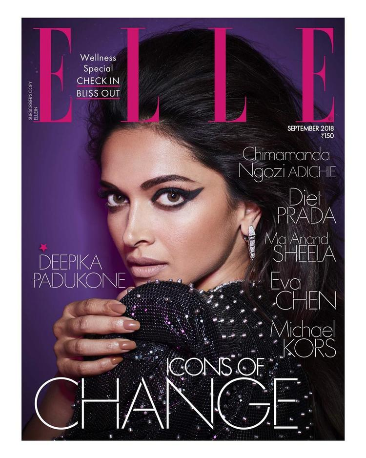 The Elle India cover captures a close-up of Deepika Padukone resting her chin on her shoulder wearing winged eyeliner and beehive hairdo, instantly bringing to mind Amy Winehouse's enduring signature style.
