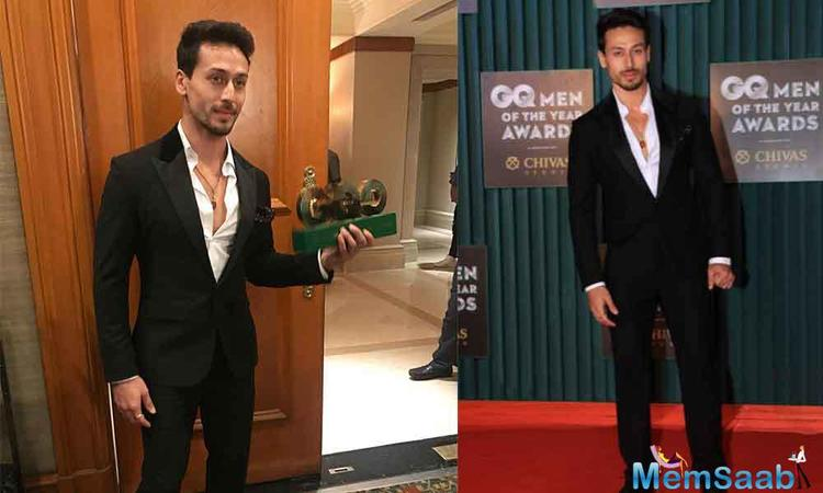 Making a stylish entry at the red carpet, Tiger Shroff looked dapper in a black suit. The actor was extremely overwhelmed with the kind of response he has been receiving till date.