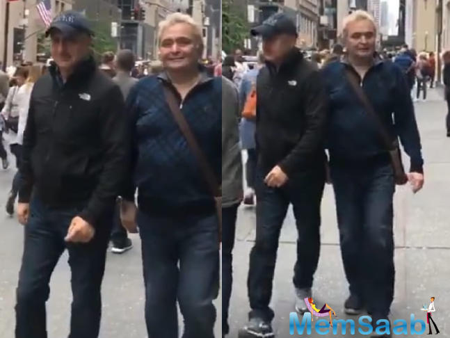 Rishi Kapoor was seen catching up with 'old friend', actor Anupam Kher, while he is in the United States for treatment.
