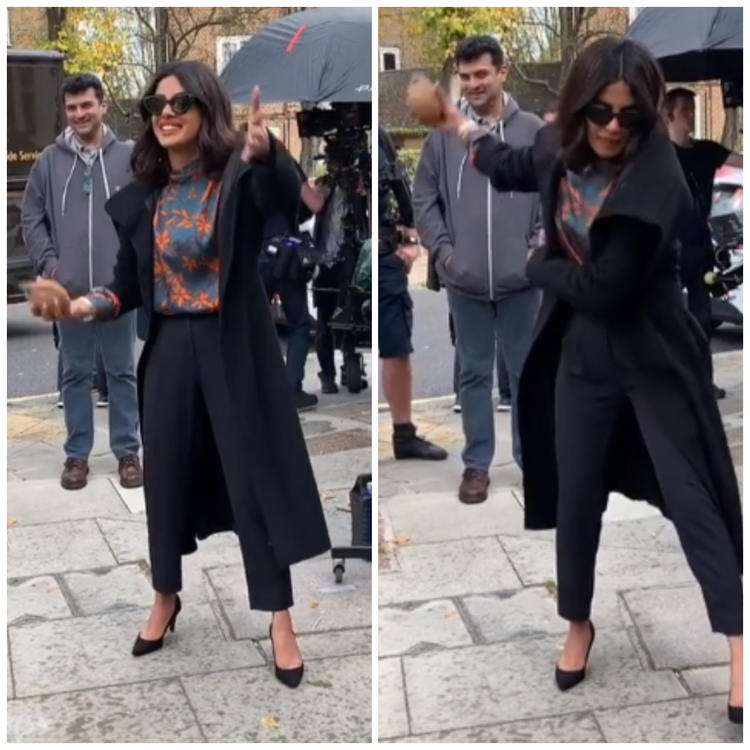 Priyanka's fan club on social media also posted a video where she's seen doing all the Indian things in the West.