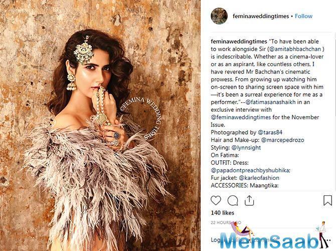 Sharing the cover on her social media, Fatima Sana Shaikh said,