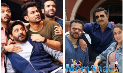The reunion of Golmaal cast with filmmaker Rohit Shetty for his next venture Simmba was so much familiar fun that actor Arshad Warsi says the film's lead pair Ranveer Singh and Sara Ali Khan looked out of place.