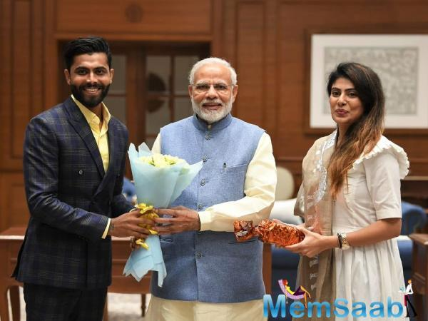 Prime Minister Narendra Modi met Indian cricketer Ravindra Jadeja and his wife Rivaba on Tuesday.