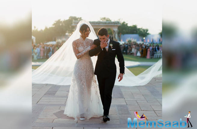 The much-in-love couple exchanged wedding vows on December 1 at Jodhpur's majestic palace in a Catholic ceremony officiated by the groom's father Kevin Jonas Sr.