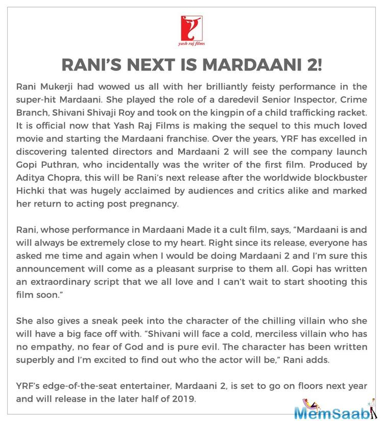 Giving a sneak peek into the character of the new antagonist, Rani said Shivani will face a