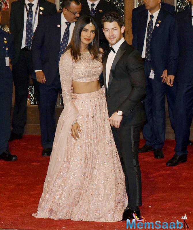 Priyanka Chopra Jonas arrives with her husband Nick Jonas at Isha Ambani-Anand Piramal's wedding.