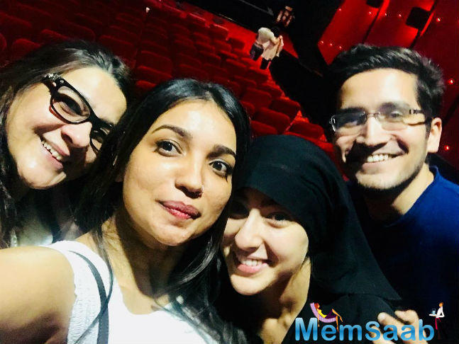 Sara Ali Khan, who eager to see how the audience reacts to her debut film Kedarnath, visited a suburban multiplex wearing a burqa. She was accompanied by mother Amrita Singh and the film's writer Kanika Dhillon.