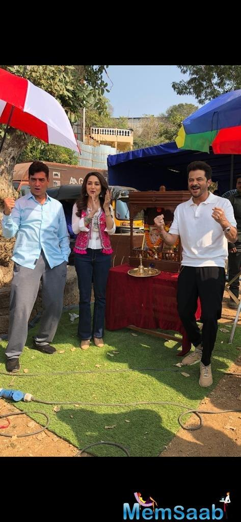 One of the stars of the film, Anil Kapoor took to Twitter and shared a snap with Madhuri Dixit and the director Indra Kumar from the sets, confirming the wrap-up.