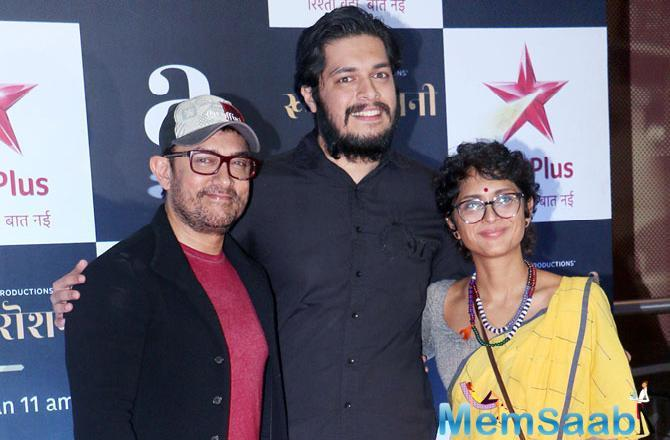 Aamir Khan with son Junaid and wife Kiran Rao at the special screening of Rubaru Roshni at a multiplex in Juhu.
