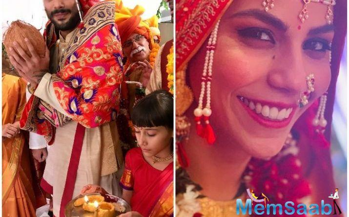 In the photos, Prateik can be seen performing various rituals and Sanya makes for a coy Maharashtrian bride.