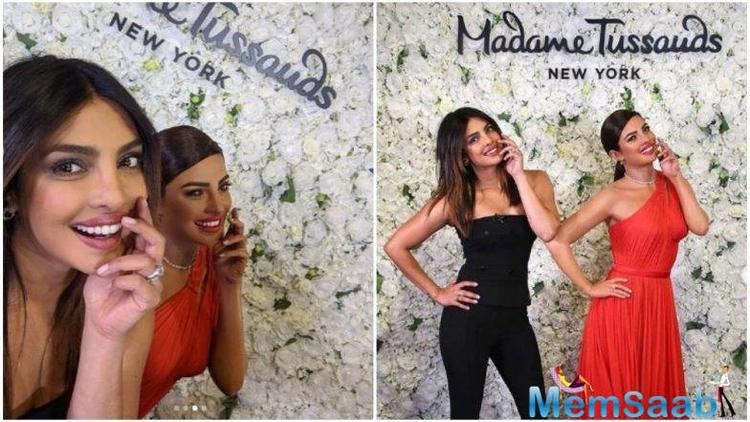 In the wax figure at the museum of Madame Tussauds in the New York City, the Quantico actress is dressed in a red outfit, which is exactly what she wore at the 2016 Emmy Awards.