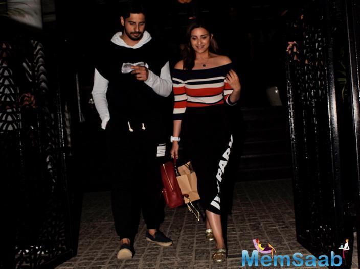 Jabariya Jodi Sidharth Malhotra and Parineeti Chopra went for dinner together to a popular club in Mumbai on February 18.