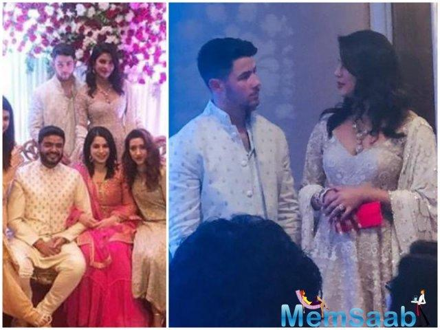 In the new photos from the ceremony, Priyanka and Nick can be seen posing on the stage with the newly engaged couple.