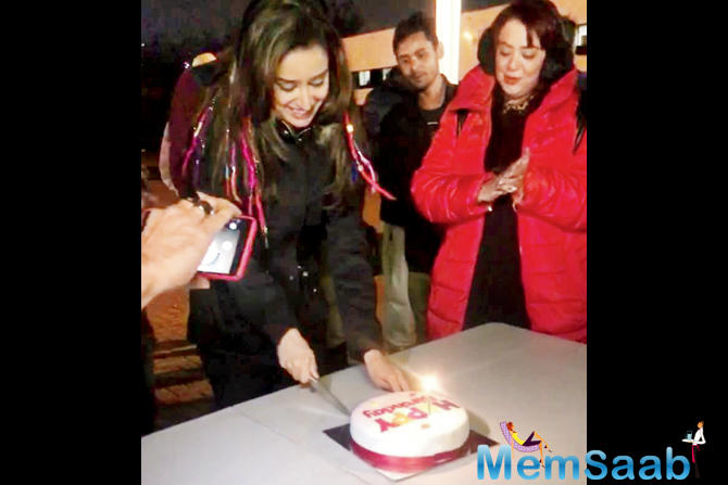 Shraddha Kapoor with her cake on the set of Street Dancer 3D in London