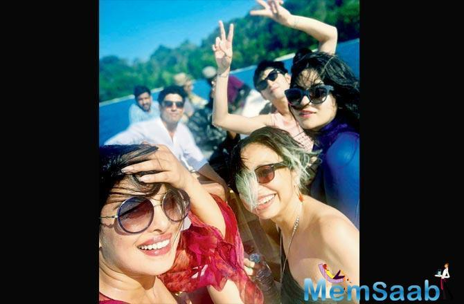 Priyanka Chopra, Farhan Akhtar, Zaira Wasim and Rohit Saraf have begun shooting for the last schedule of Shonali Bose's The Sky Is Pink. The unit is shooting in the Andaman Islands. The desi girl could not resist sipping on nariyal pani.