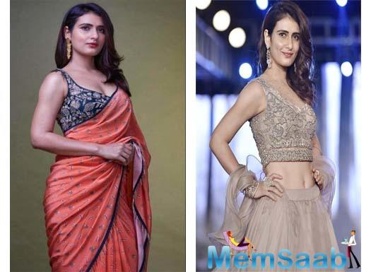 Looking flawlessly bewitching in an orangish umber colour saree with a gold embroidered black sleeveless blouse, Fatima Sana Shaikh embraced her feminity captivating the onlookers.