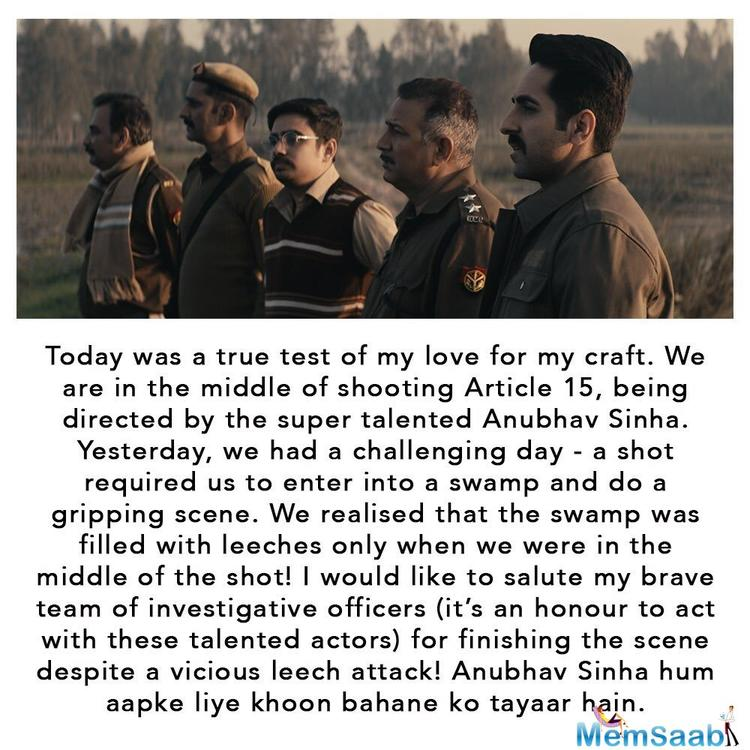 "The 34-year-old actor, who recently wrapped up shooting for 'Article 15', penned a heartfelt note on his Instagram account, calling the movie "" the most relevant and important film of Indian cinema."""