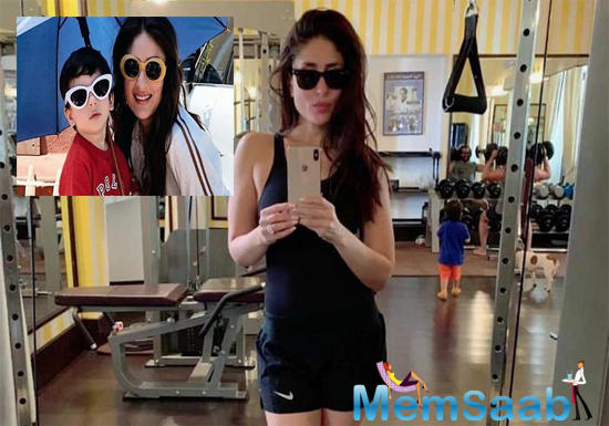 Kareena is dressed in black shorts and matching tee. Apart from her acting and candid nature, the actor is quite famous for her gym looks. Interestingly, baby Taimur always accompanies his parents at gym, sets and many events.