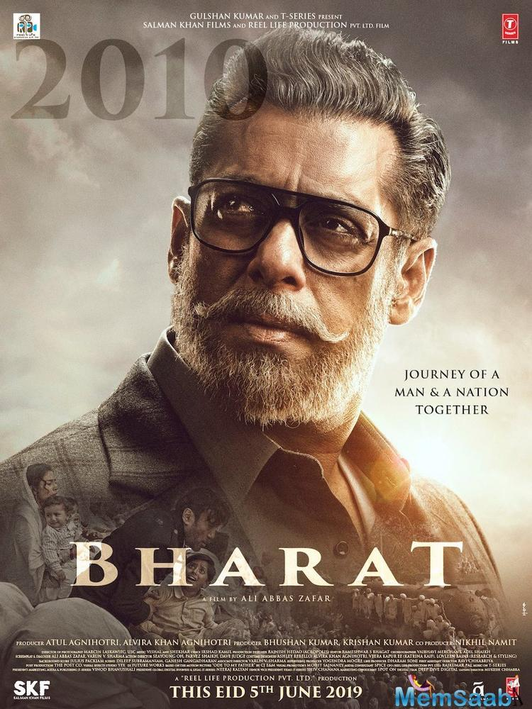 Bharat new poster is out! Salman Khan's look from his upcoming Eid release is finally here and it features the actor looking all intense and rugged in grey hair.