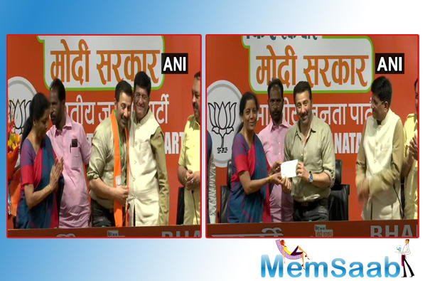 "Defence Minister Nirmala Sitharaman, welcomed him into the fold and said, ""I am pleased to welcome a firebrand actor, popular, very committed to his art, young brave artist Sunny Deol to the BJP."""