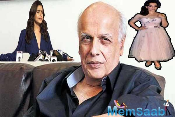 "Mahesh Bhatt said, ""She (Kangana) is a 'bachchi', started her journey with us. Just because her relative (Rangoli) is attacking me, I won't comment."