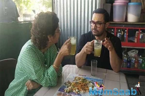 Aamir Khan, who has taken an initiative to fight drought in Maharashtra, was seen spending time with his wife Kiran Rao in rural areas of the state on Wednesday.