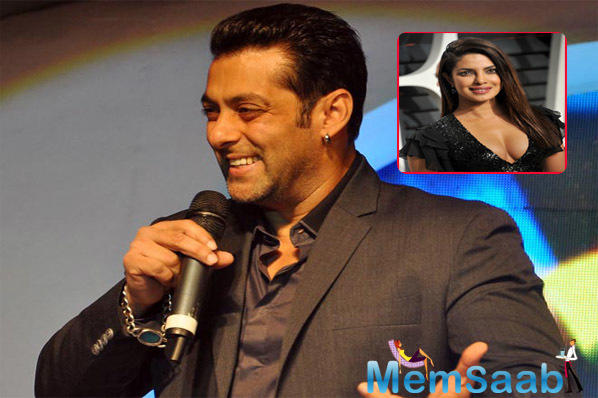 And just then, Salman Khan cut in, and took a dig at Priyanka Chopra saying,