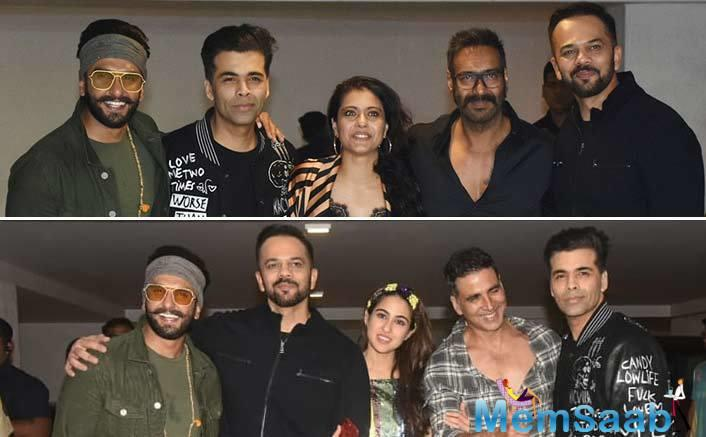Rohit Shetty took to Twitter to share a picture of himself with producer Karan Johar and actors Ranveer Singh, Ajay Devgn and Akshay Kumar.