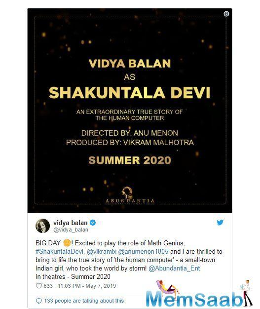 Actor par excellence, Vidya Balan will play the lead role of Shakuntala Devi in the film.