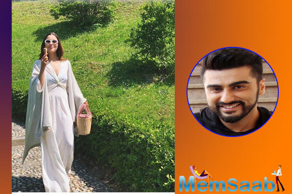 """While we totally miss the Ae Di Hai Mushkil actor in these pictures, Arjun Kapoor commented on her Two States co-star's picture and asked her, """"Where's the lake?"""", referring to the reports of them holidaying at Lake Como."""