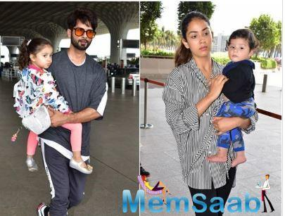 It was only yesterday that Shahid and wifey Mira Rajput, along with their kids- Misha and Zain, were snapped at the Mumbai airport as they jetted off to Singapore to unveil Shahid's wax statue at Madame Tussauds and today morning,