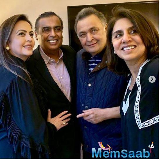 "Rishi Kapoor also shared pictures on social media and wrote, ""Thank you for seeing us Mukesh and Neeta. We also love you. Thank you for all the love you showered."""