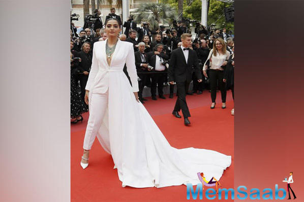Sonam Kapoor made her first red carpet appearance at the 2019 Cannes Film Festival and this time she is slaying it like a boss in a white tuxedo with a unique twist.