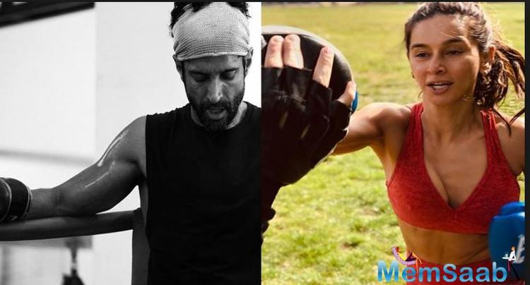 Well, in this picture, one can see Shibani is working very hard on her boxing. It seems like the fitness enthusiast girl is all set to sweat it out to match up her beau Farhan Akhtar's boxing skills.