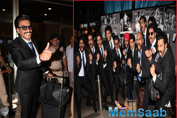 Ranveer Singh and team '83 including the likes of Sahil Khattar, Ammy Virk, Saqib Saleem were snapped at the airport as they are now headed off to England to kickstart the first schedule of the film.