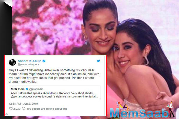 Now, Sonam Kapoor says that her response, at least, was an 'inside joke' with Janhvi and that she wasn't actually calling her 'very dear friend' Katrina Kaif out over what she said.