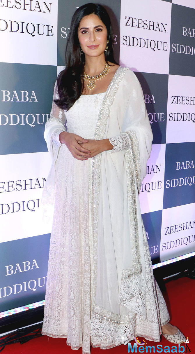Katrina Kaif was resplendent in an all-white Anarkali dress with sequin detailing.