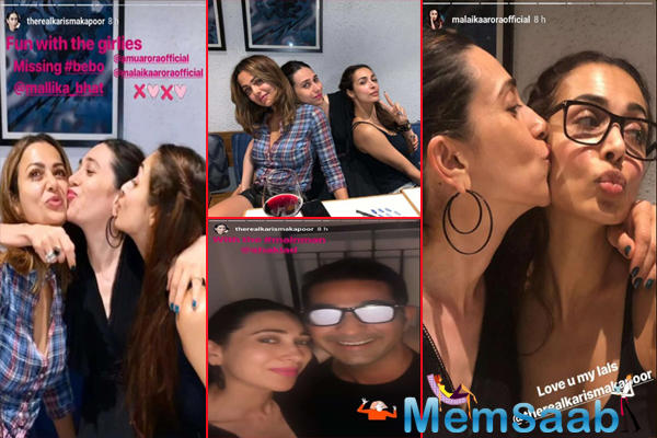 Karisma then shared a photo of her kissing Amrita, while Malaika kisses Karisma. Karisma wrote,