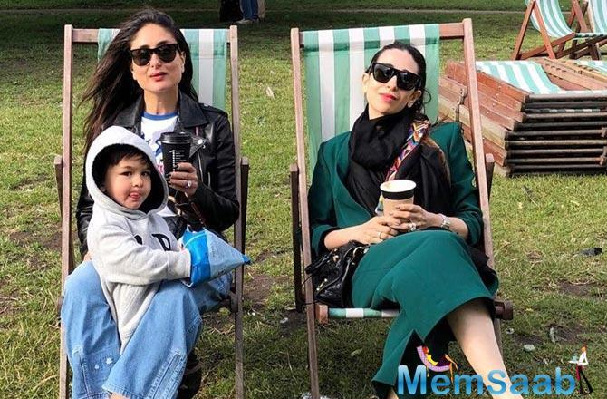 Karisma looks chic as always in a lush green outfit paired with a jet black scarf, while Kareena is casual-chic in a pair of loose denims, a white tee and a leather jacket to keep out the cold.