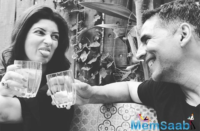 On Monday, just a day after Father's Day celebration, Twinkle Khanna shared a monochrome picture, where she is seen making a funny face, while Akshay Kumar enjoying every bit of it.