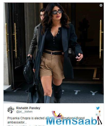 Recently, Priyanka Chopra was spotted wearing 'khaki' shorts and black deep neck top with hubby Nick Jonas in New York City.