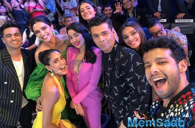 While the stars were celebrating the night of fashion and youth, Deepika Padukone and Karan Johar posed with the millennial crowd - Janhvi Kapoor, Ananya Panday, Siddhant Chaturvedi and clicked a pretty groupfie.