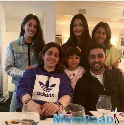 In a photo that was shared on Instagram, Aishwarya, Abhishek, Aaradhya, Navya and others can be seen enjoying a family meal together.