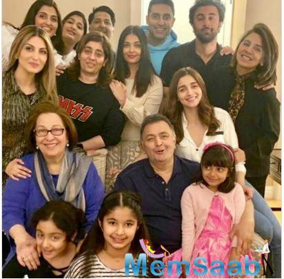 In another picture shared by Riddhima, Rishi, Neetu, Ranbir and Alia are all smiles as they pose for the camera outside a restaurant.