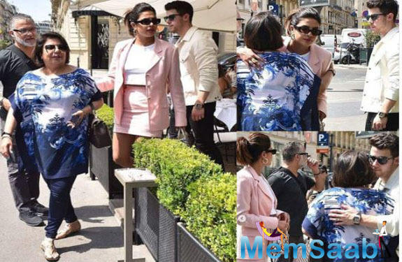 As the celebrations continue, leading up to the star-studded wedding of Joe Jonas and Sophie Turner, the star-couple were joined my mom Madhu Chopra on a sunny day out in town.