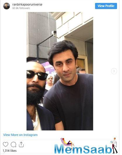 In the picture, Ranbir is seen donning a round collar deep blue t-shirt and denim. On the other hand, Alia sported an army green coloured jacket and denim.